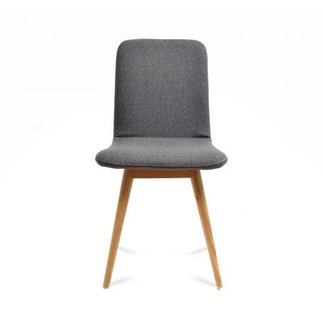 Ena Chairs in Oak and Grey Facet Felt - Front View