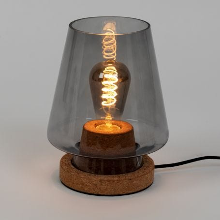 Arden Glass and Cork Table Lamp Smoke