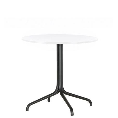 Belleville Round Table White Top Deep Black Base