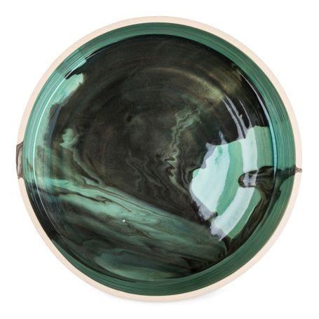 Blue Marbled Serving Bowl