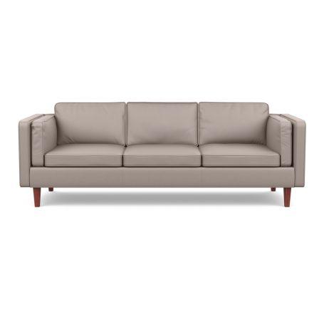 Chill 4 Seater Sofa Leather Grain Light Grey 060 Walnut Feet