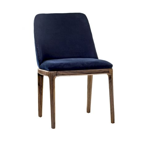 Cloe 100 Dining Chair Walnut & Blue Velvet