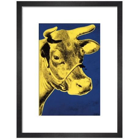 Cow, 1971 by Andy Warhol (Blue & Yellow) Framed Print