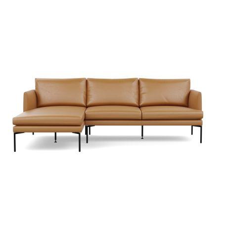 Matera Corner Chaise Sofa Left Hand Facing Daino leather Parchment