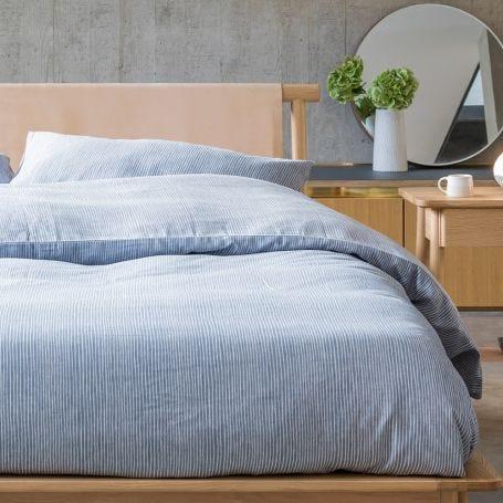 Reversible Stripe Bed Linen Blue