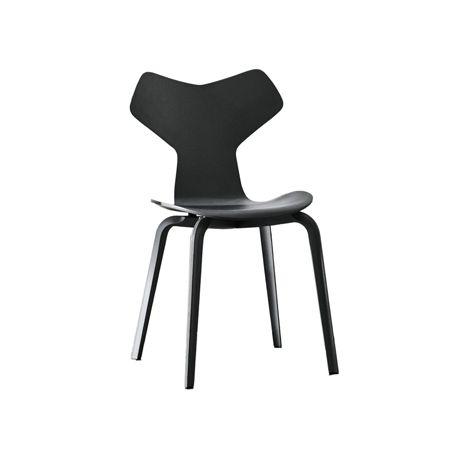 Grand Prix Side Chair 4130 Black Ash 195 Wood Legs