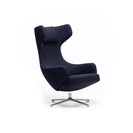 Grand Repos Chair Credo Dark Blue/Black Polished Base Glides for Carpets