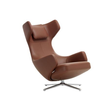 Grand Repos Chair Premium Leather Brandy Polished Base Glides for Carpets