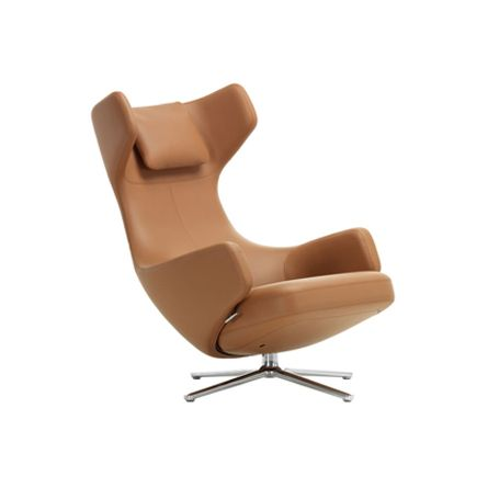 Grand Repos Chair Premium Leather Cognac Polished Base Glides for Carpet