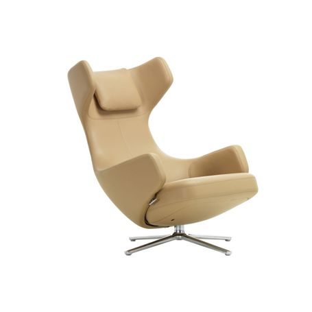 Grand Repos Chair Premium Leather Ochre Polished Base Glides for Carpets