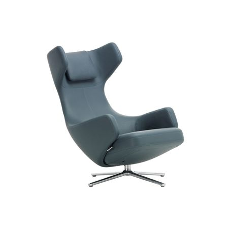 Grand Repos Chair Premium Leather Smoke Blue Polished Base Glides for Carpets