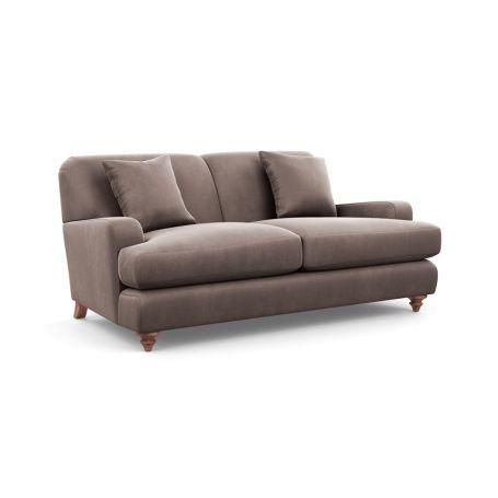 Hampstead 3 Seater Sofa Velvet Mink Chestnut Stain Feet
