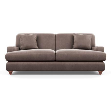 Hampstead 4 Seater Sofa Velvet Mink Chestnut Stain Feet