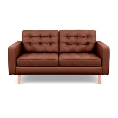 Hepburn 2 Seater Sofa Leather Grain Dark Brown 068 Natural Feet