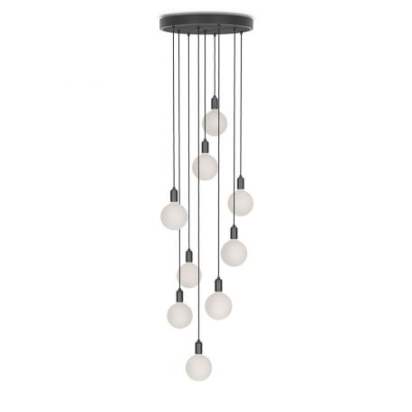 Large Black Canopy With 9 Pendants and 9 Sphere IV Bulbs
