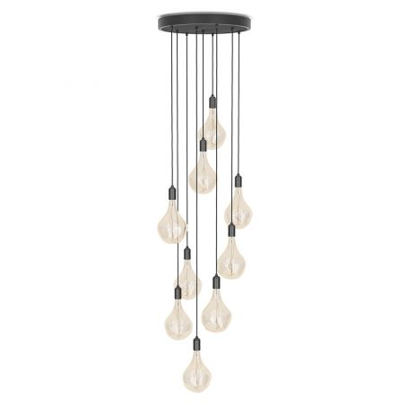 Large Black Canopy With 9 Pendants and 9 Voronoi II Bulbs