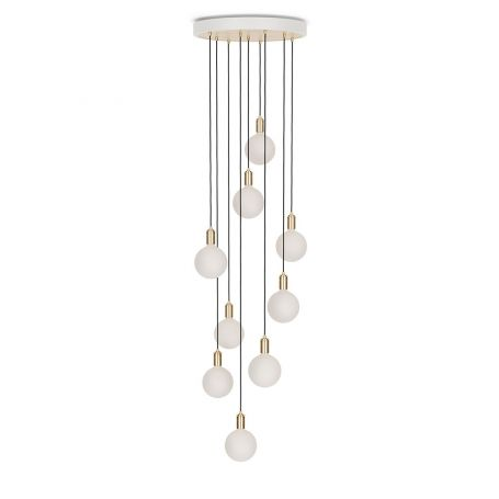Large White Canopy With 9 Pendants and 9 Sphere IV Bulbs