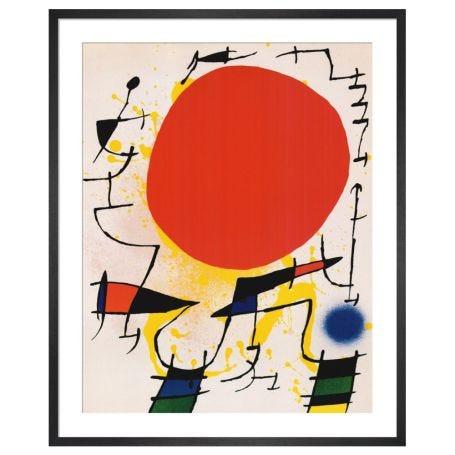 Le Soleil Rouge by Joan Miro Framed Print