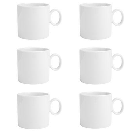 Thomas Loft White Porcelain Mug With Handle Set Of 6