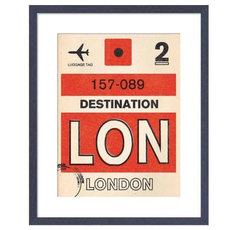 London Luggage Tag by Nick Cranston Framed Print