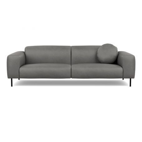 Luna 4 Seater Sofa Luxury Leather Slate Black Feet