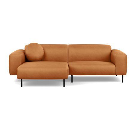 Luna Left Hand Facing Corner Chaise Sofa Luxury Leather Canella Black Feet