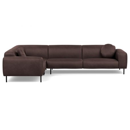 Luna Medium Left Hand Facing Corner Sofa Luxury Leather Coco Black Feet