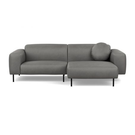 Luna Right Hand Facing Corner Chaise Sofa Luxury Leather Slate Black Feet