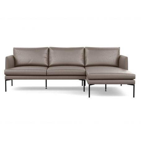 Matera Corner Chaise Sofa Right Hand Facing Daino leather Elephant Grey