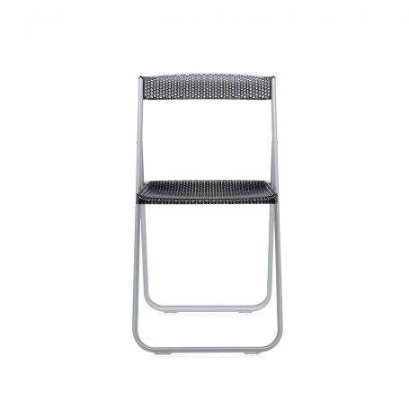 Honeycomb Folding Chair in Smoke Grey - Front View