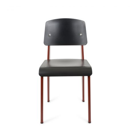Prouvé Standard Chair in Black - Front View