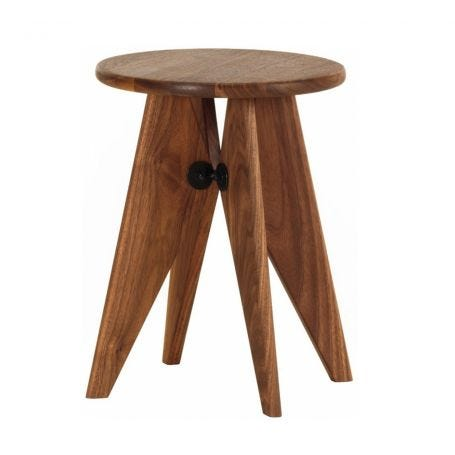 Tabouret Solvay Stool in Walnut - Front View