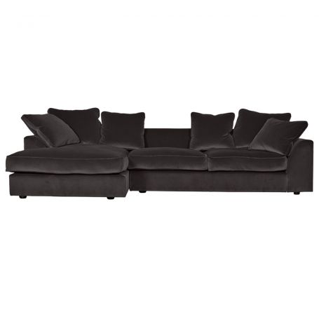 Cumulus Left Hand Facing Corner Sofa in Velvet Charcoal (Note: These legs are not correct, and have been changed to a wider square leg)