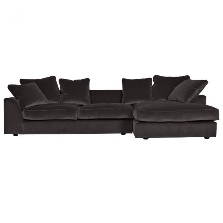 Cumulus Right Hand Facing Corner Sofa in Velvet Charcoal (Note: These legs are not correct, and have been changed to a wider square leg)