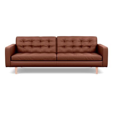 Hepburn 4 Seater Sofa Leather Grain Dark Brown 068 Natural Feet