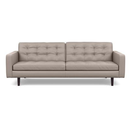Hepburn 4 Seater Sofa Leather Grain Light Grey 060 Wenge Feet