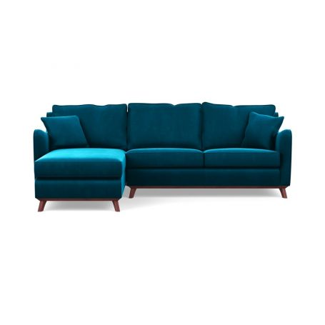 Ravello Left Hand Corner Sofa Velvet Teal Walnut