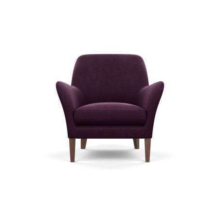 Wallis Armchair Velvet Grape Walnut Feet