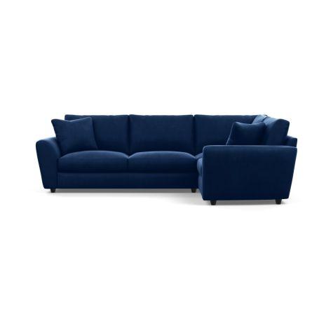 Snooze Right Hand Facing Corner Sofa Velvet Midnight Black Feet