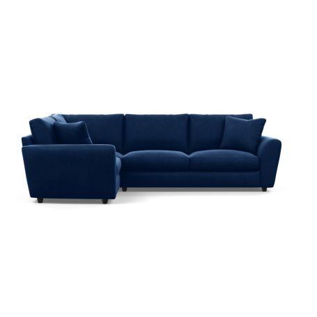 Snooze Left Hand Facing Corner Sofa Velvet Midnight Black Feet