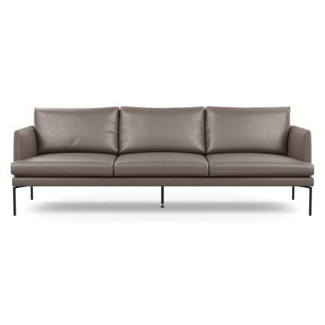 Matera 4 Seater Sofa Daino Leather Elephant Grey Black Feet