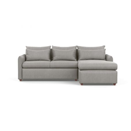 Pillow Medium Right Hand Corner Chaise Sofa Bed Texture Pale Grey Chestnut Stain Feet