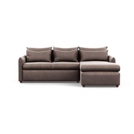 Pillow Medium Right Hand Corner Chaise Sofa Bed Velvet Mink Chestnut Stain Feet