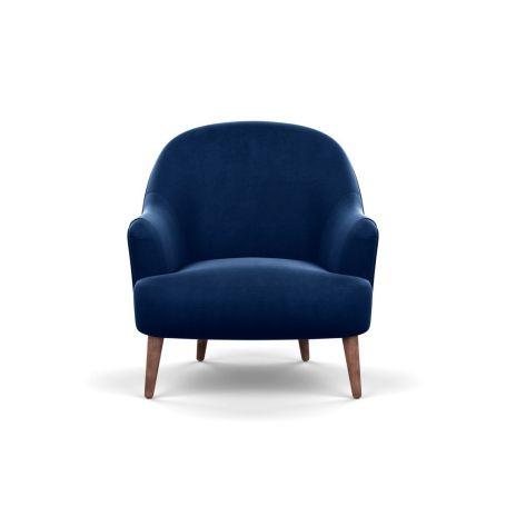Elgin Chair Velvet Midnight Chestnut Stain Feet
