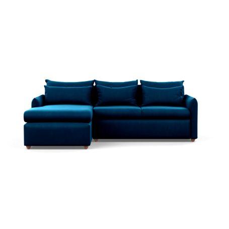Pillow Medium Left Hand Corner Chaise Sofa Bed Smart Velvet Blue Chestnut Stain Feet