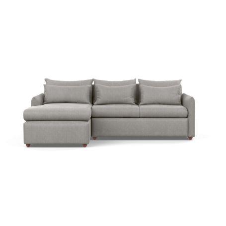 Pillow Medium Left Hand Corner Chaise Sofa Bed Texture Pale Grey Chestnut Stain Feet