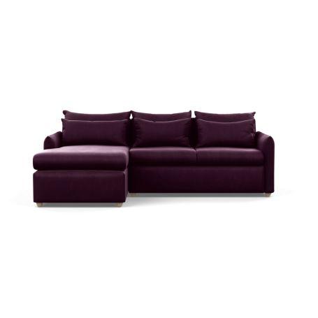 Pillow Medium Left Hand Corner Chaise Sofa Bed Velvet Grape Chestnut Stain Feet