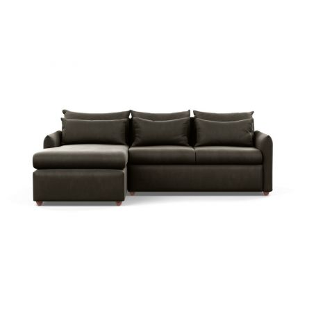 Pillow Medium Left Hand Corner Chaise Velvet Charcoal Chestnut Stain Feet