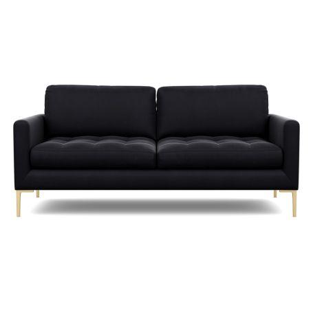 Eton 3 Seater Sofa Velvet Black Brass Feet