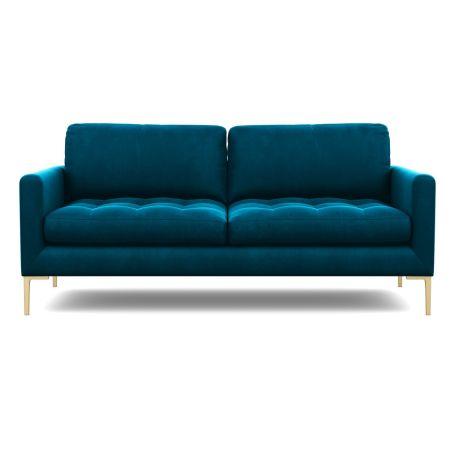 Eton 3 Seater Sofa Velvet Teal Brass Feet